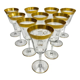 1930s Vintage Tiffin Franciscan Crystal Wine Glasses - Set of 10 For Sale