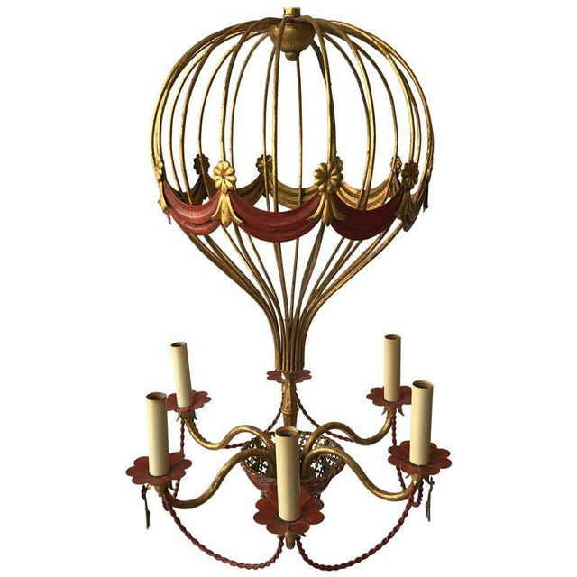 1970s Italian Gilt Iron Hot Air Balloon Chandelier For Sale - Image 11 of 11