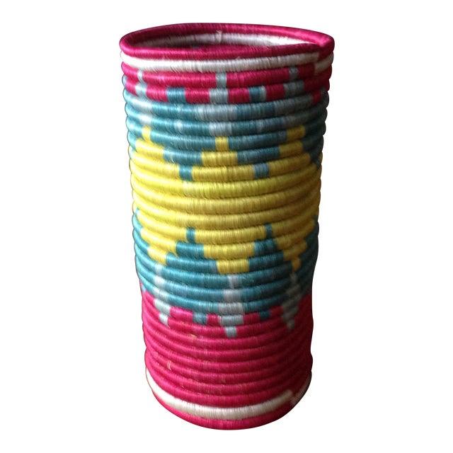 Vintage Moroccan Straw Floral Vase - Image 1 of 11