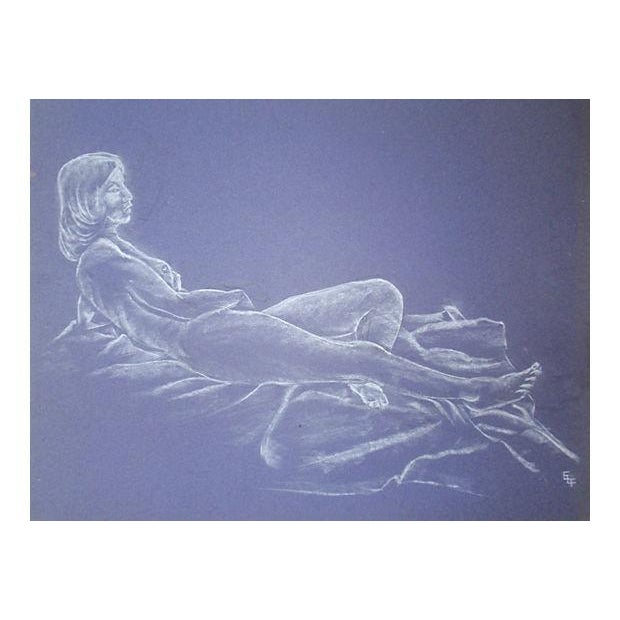 Mid-Century Reclining Nude Pastel Drawing For Sale - Image 4 of 4