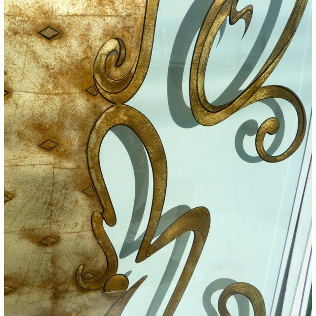 Phenomenal Architectural Etched and Gilded Glass Panels For Sale - Image 9 of 11