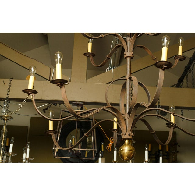 Monumental Two-Tier Forged Iron Chandelier For Sale In Houston - Image 6 of 10