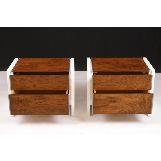 Metal Pair of White Lacquered Glenn California Nightstands For Sale - Image 7 of 11