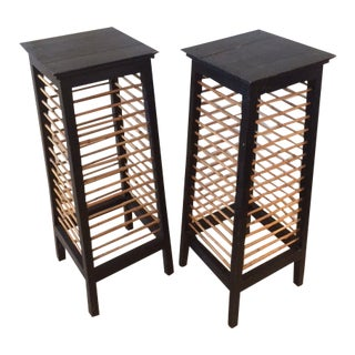 Asian Bamboo and Painted Wood Pedestals - A Pair For Sale