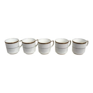 Vintage White & Gold Accent Espresso Cups - Set of 5