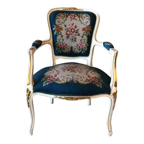 French Needle Point Arm Chair (2 Available) - Image 1 of 6
