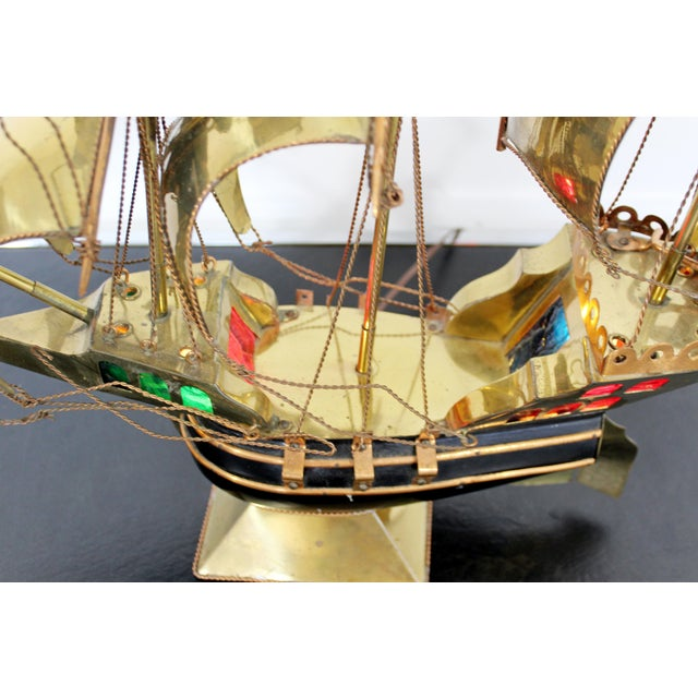 Mid Century Modern Light Up Brass Copper Sailing Sculpture Bijan Jere Era 1970s For Sale In Detroit - Image 6 of 9