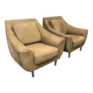 Nicoletti Italia Leather Suede Arm Chairs - a Pair For Sale