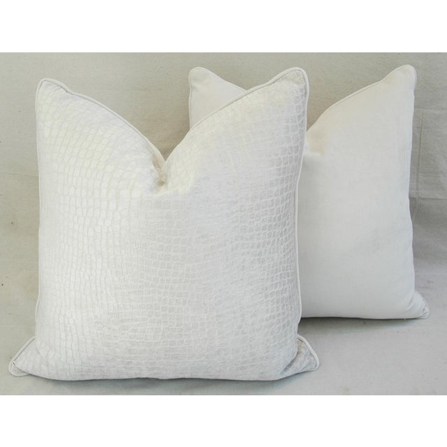 "Boho Chic Bone White Crocodile Velvet Feather/Down Pillows 24"" Square - Pair For Sale - Image 9 of 12"