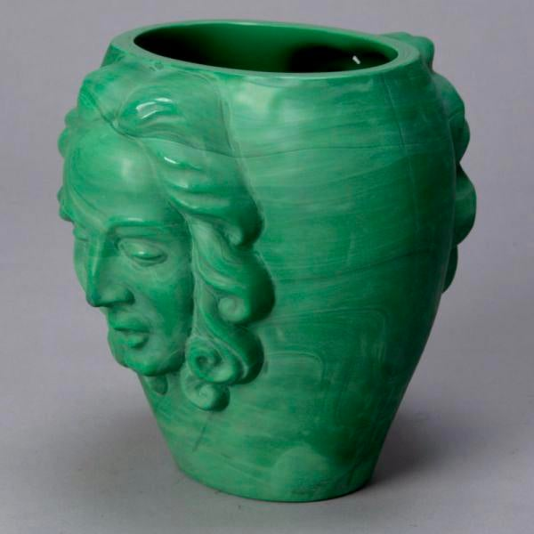 Art Deco Era Bohemian Malachite Glass Vase with Faces For Sale In Detroit - Image 6 of 6