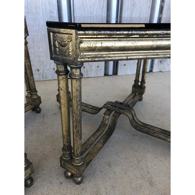 Mid-Century Modern Midcentury French Silver Leaf Side Tables For Sale - Image 3 of 6
