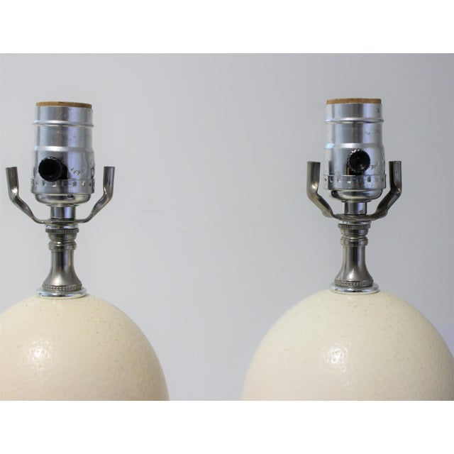 Metal Mid-Century Modern Tony Duquette Style Ostrich Egg Table Lamps - a Pair For Sale - Image 7 of 13