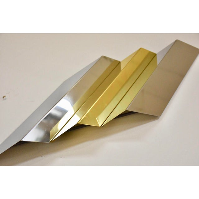 Metal Modern Chrome and Brass Wall Art For Sale - Image 7 of 9