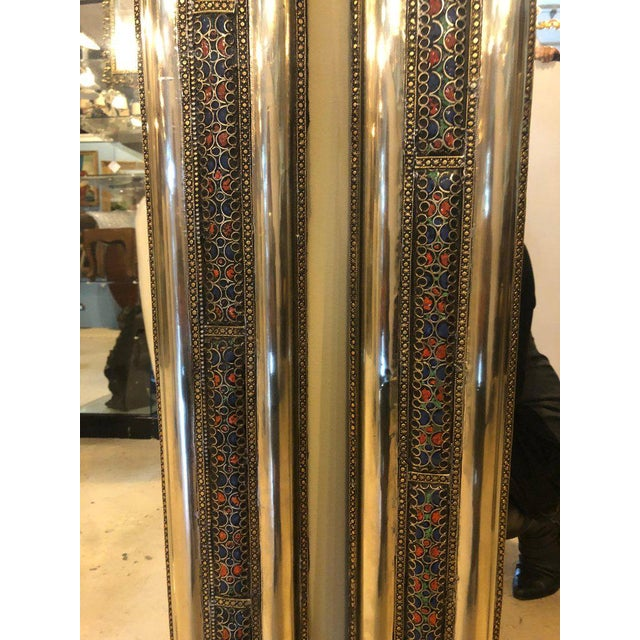1990s Pair of Moroccan Hollywood Regency Style Silver & Brass Console or Wall Mirrors For Sale - Image 5 of 11