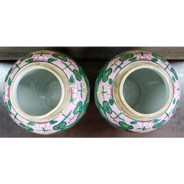 C. 1880 Chinese Famille Verte Porcelain Enameled Floral/Dragon Motif Ginger Jars - a Pair For Sale In New Orleans - Image 6 of 9