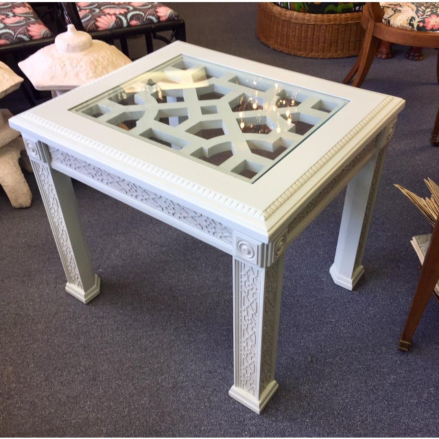 1950s Vintage Chinese Chippendale Style Fretwork Design End Table For Sale - Image 11 of 11