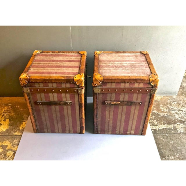 Late 19th Century Pair of French Canvas and Leather Hat Trunks, Late 19th Century For Sale - Image 5 of 10