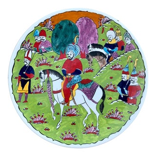 Turkish Hand Painted Ceramic Ottoman Iznik Plate For Sale