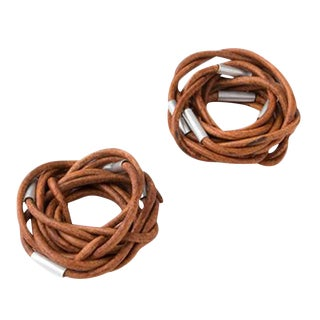 Vance Handmade Leather Napkin Rings - A Pair For Sale