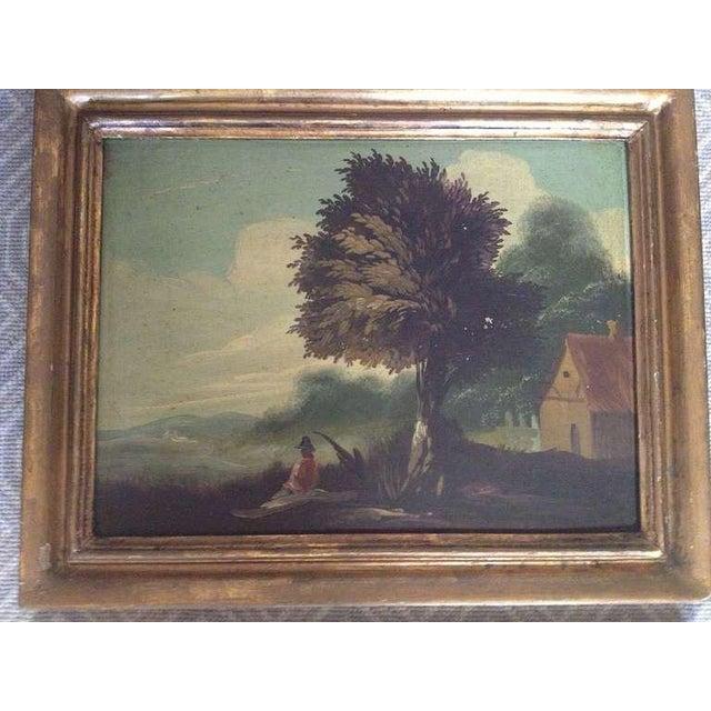 Oil on board, charming landscapes in original gesso and gold leaf frames.