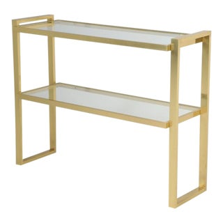 Midcentury Modern Brass Console Table For Sale