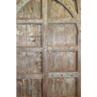 Antique Indian Green Brown Hand Carved Haveli Double Doors Preview