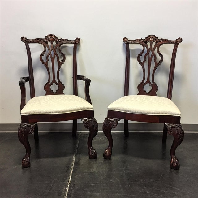 Chippendale Thomasville Mahogany Collection Chippendale Dining Chairs - Set of 8 For Sale - Image 3 of 11