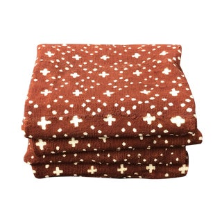 """Superb African Bogolan Brown & White Mud Cloth Textile 66 """" by 42 """" Pair For Sale"""
