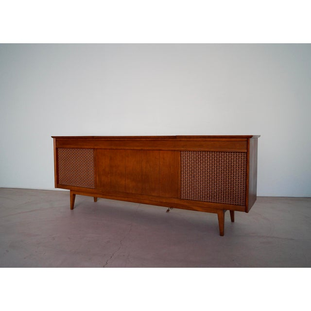 1960s Danish Modern Silvertone Walnut Record Console For Sale - Image 4 of 13