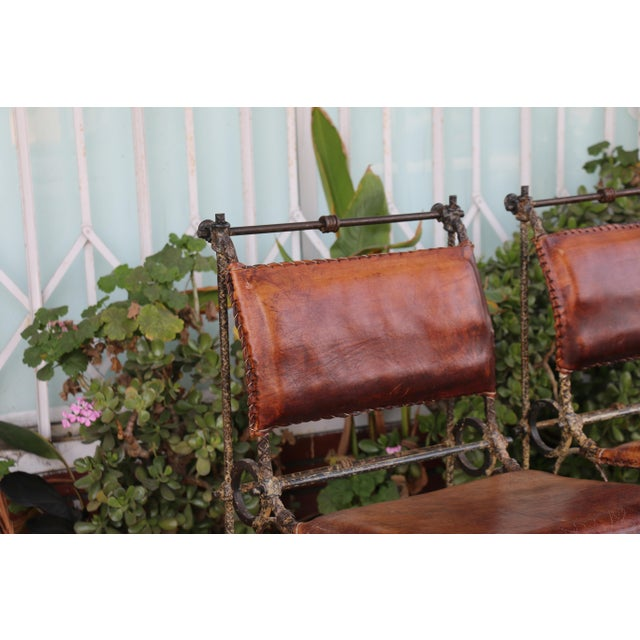Rustic 1970s Vintage Leather and Metal High Barstools- Set of 3 For Sale - Image 3 of 13