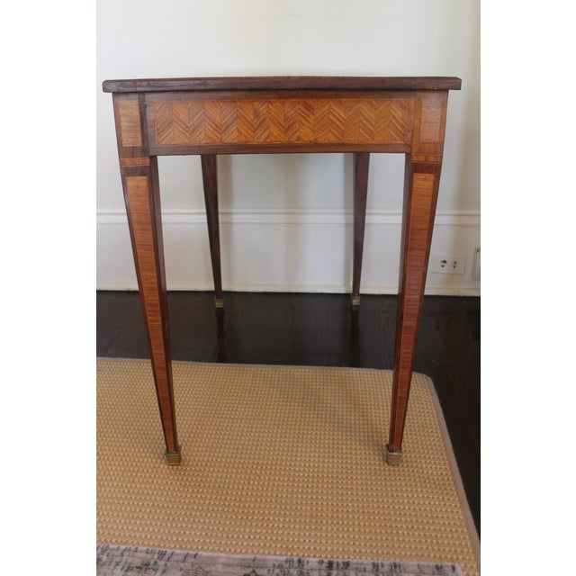 French Transitional Parquetry Inlaid Writing Desk For Sale - Image 9 of 13