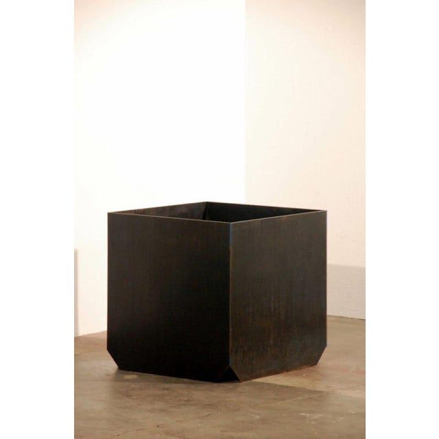 """Contemporary Large """"Cubiste"""" Patinated Steel Plate Planter For Sale - Image 4 of 7"""