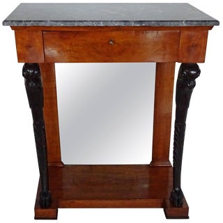 Empire Walnut and Ebonized Console Table For Sale