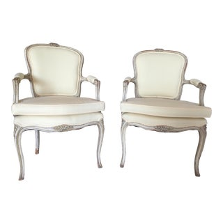 Early 20th Century Vintage Louis XV Fauteuils Chairs - a Pair For Sale