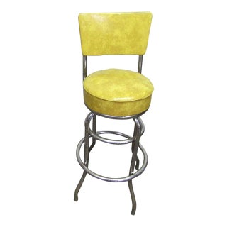 Yellow Vinyl Bar Stool