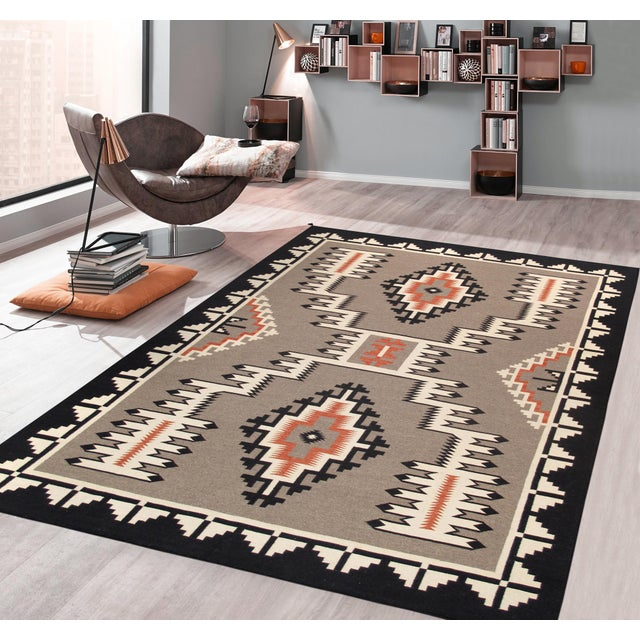 Transitional Modern Pasargad Home Navajo Style Wool Area Rug-9′1″ × 11′10″ For Sale - Image 3 of 4