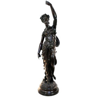 19th Century Antique Victorian French Spelter Newel Post Maiden Woman Figure Statue For Sale