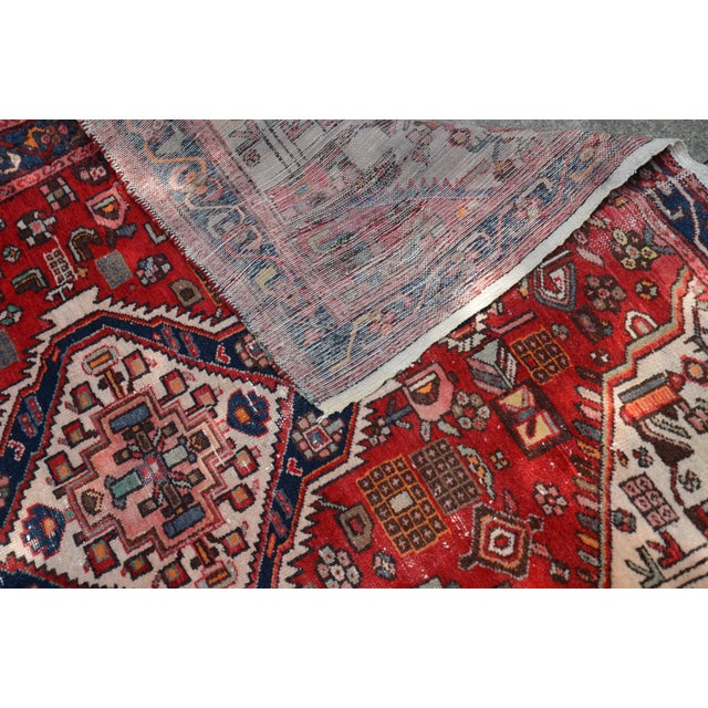 """Textile Extra Large Persian Hand Woven Hamadan Runner - 16' X 4' 8"""" For Sale - Image 7 of 12"""