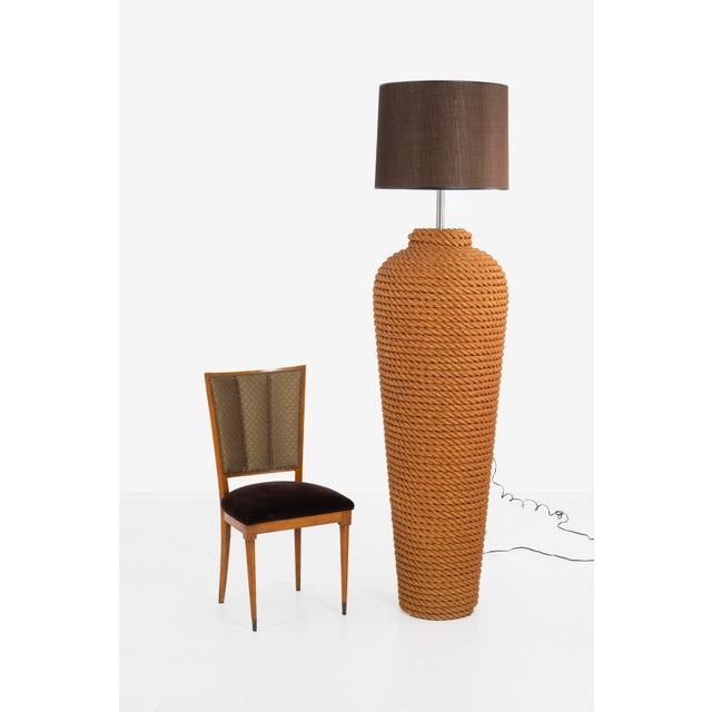 Mid-Century Modern Pair of Monumental Wrapped Rope Floor Lamps For Sale - Image 3 of 7