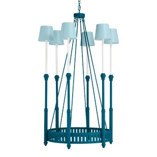 Camilla Chandelier, Blue Danube with Blue Stream Blue Danube Shades For Sale