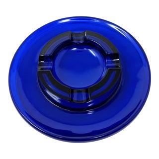 1950s Cobalt Blue Glass Ashtray For Sale