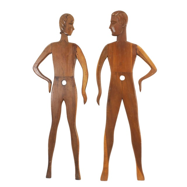 Pair of American Art Deco Stained Pine Mannequin Panel Figure For Sale