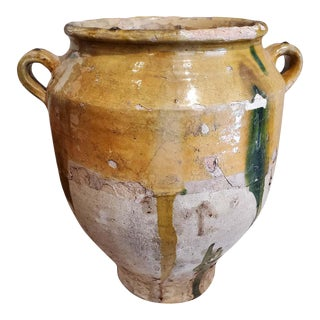 """19th Century Green and Yellow Glazed Terra Cotta """"Confit"""" Pot For Sale"""
