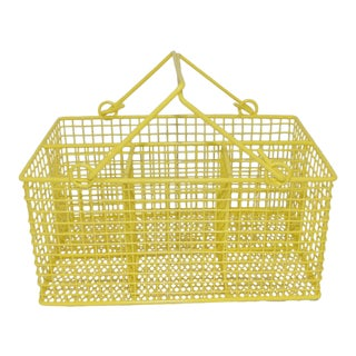 Electric Yellow Bathroom Toiletries Catchall Basket For Sale