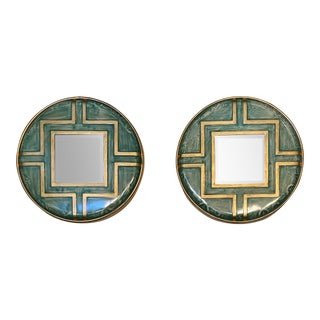 Asian Style Round Accent Mirrors - a Pair For Sale