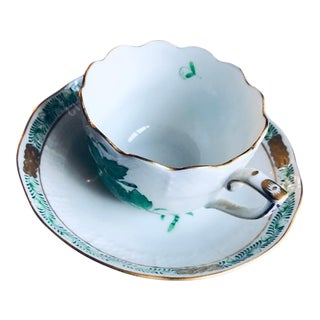 1990s Herend Chinese Bouquet Green Flat Demitasse Cup and Saucer For Sale