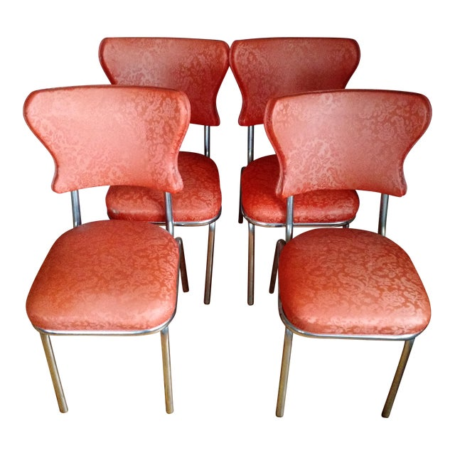 Retro 1950s Vinyl & Chrome Dining Chairs - Set of 4 - Image 1 of 10