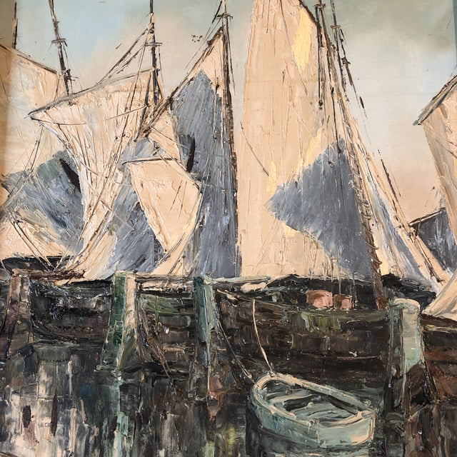Expressionism Original Vintage Sail Boats in Harbor Seascape Painting For Sale - Image 3 of 7
