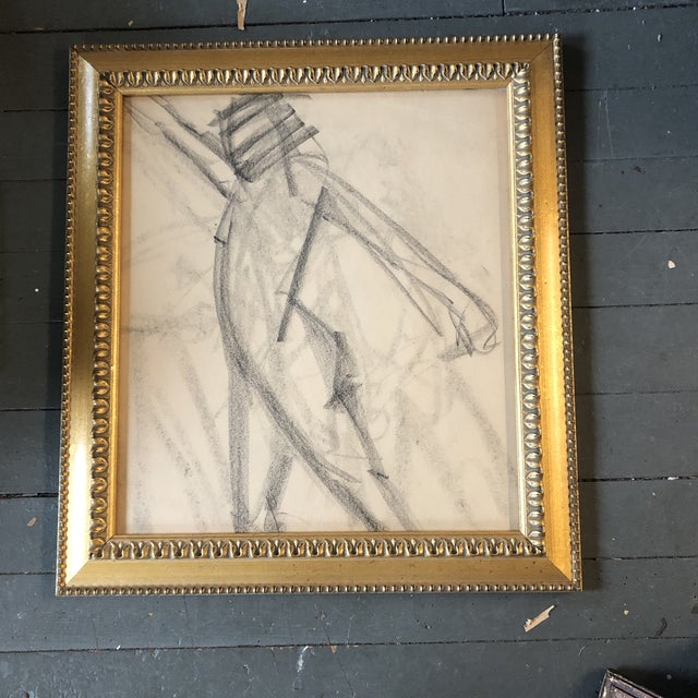 Original Vintage Abstract Nude Charcoal Study Drawing Framed 1950's For Sale - Image 4 of 4