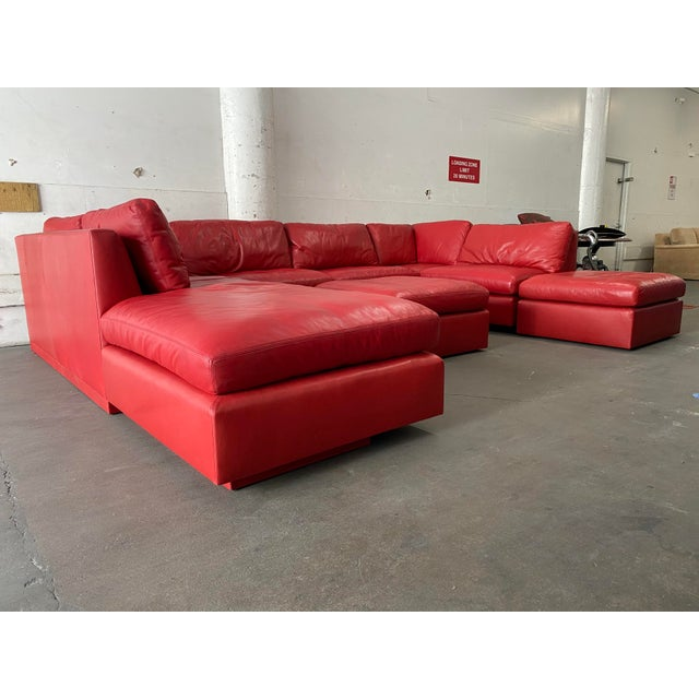 Contemporary Belmar Custom Design 5-Piece Leather Leipzig Sectional For Sale - Image 3 of 13